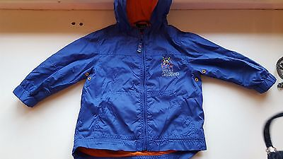 NEXT baby boy 12-18 months blue dinosaur rain wind stopper jacket zip & hood