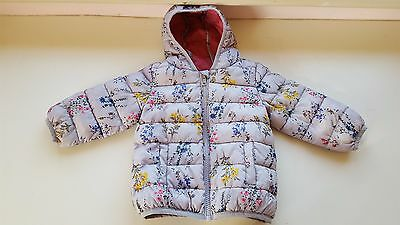 NEXT baby girl 6-9 month blue floral light warm jacket coat zip & hood