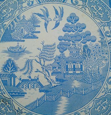 Collectors Old Vintage Mintons Blue & White Willow Pattern Antique Ceramic Tile