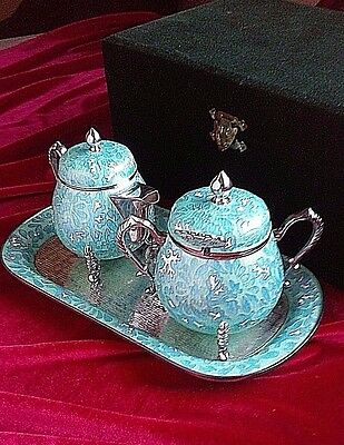 814 gr CLOISONNE SILVER KOREAN TEA SET - TEAPOT- SUGAR POT & SPOON W/BOX STAMPED