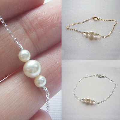 Fashion Pearl Gold Silver Bead Chain Handmade Bangle Bracelet Women Jewelry