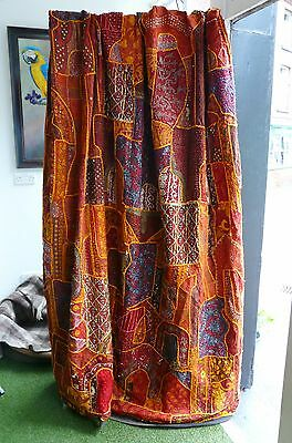 Old Indian textile wall hanging/throw hand embroidery, beaded- 204 cm x 258 cm