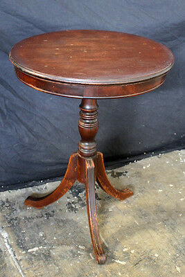 Antique Vintage Round Mahogany Wood Wooden End Bed Side Accent Pedestal Table