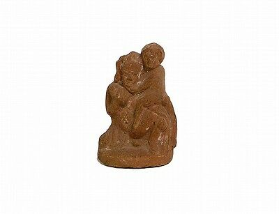 INDIAN TERRA COTTA FIGURE OF A WOMAN AND CHILD Lot 84A