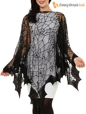 Ladies Spider Web Cape Adults Halloween Fancy Dress Accessory Womens Outfit