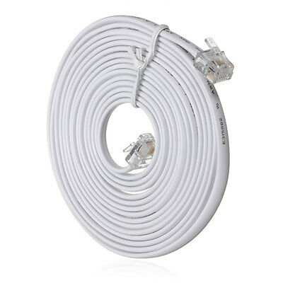 10m Metre RJ11 To RJ11 Telephones Phone Cable Cord 4 Pin 6P4C For ADSL Router