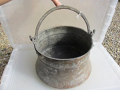 Antique Copper Cauldron Cooking Pan Pot Planter Bucket Tub Brass Handle Plant