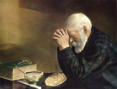 Old Man Praying Grace, Daily Bread Giclee Canvas Print