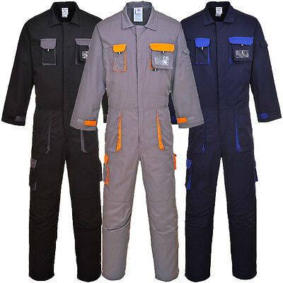 Portwest Texo Contrast Coverall Work Wear Knee Pad Overall Boiler Suit TX15
