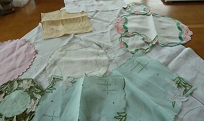 vintage job lot embroidered dollies x 12