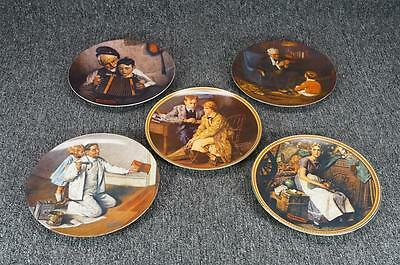 Vintage Edwin M. Knowles China Norman Rockwell 5 Porcelain Collector Plates