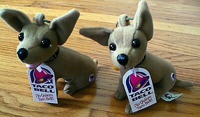 Set of 2 Taco Bell Plush Dog Keychains I Yo Quiero 1999 w/tags