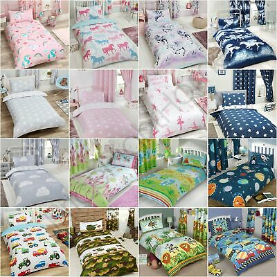 Junior Toddler Duvet Cover Sets Cot Bedding Unicorn Dinosaur Solar Systems New