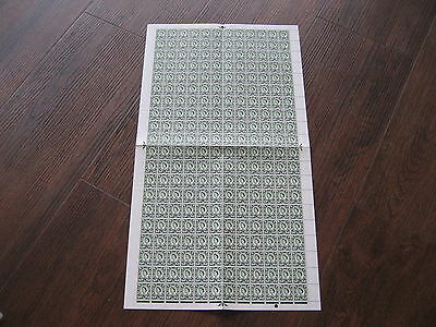 SCOTLAND 9d SG12 FULL SHEET 200 STAMPS CAT £1200 BRONZE GREEN NO WMK CHALK PAPER