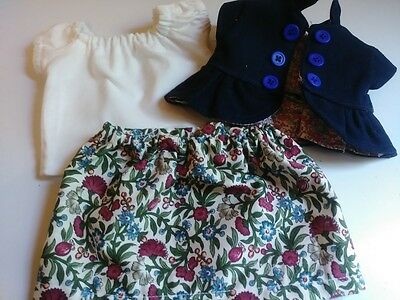 """Jean Jacket, Skirt, and Blouse for 14"""" Cabbage Patch Doll"""