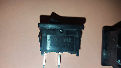 "SPST ROCKER SWITCH 15AMP 125VAC BLACK PANEL 1/2"" x 3/4"" CUTOUT NEW  MODEL TRAIN"