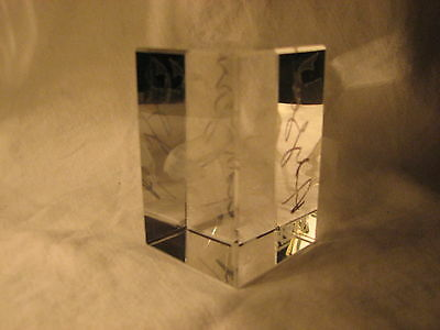 """Autographed By 3 - """"gollum"""" 3D Laser Engraved Etched Crystal By Clarisso Lotr"""