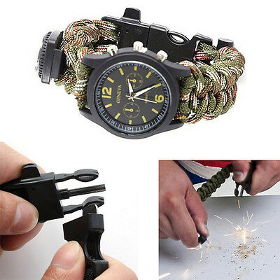 Outdoor Survival Bracelet With Watch Compass Flint Fire Starter Scraper Whistle