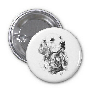 Licensed Mike Sibley High Spec Dog Print Golden Retriever Pin Badge