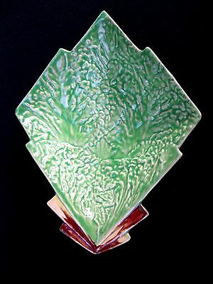 Apple Green Art Deco Shorter and Son Majolica Leaf Dish 1930s Back Stamp