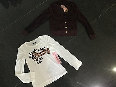 NWT Juicy Couture New & Gen. Girls Age 8 Brown Velour Jacket & T-Shirt & Logos