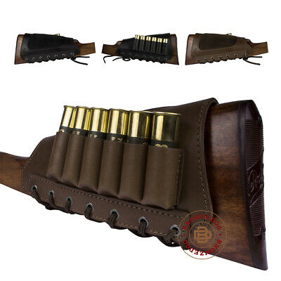 Leather Shotgun Shell Cartridge Buttstock Holder 12 20 Ga Ammo Pouch Cheek Pad
