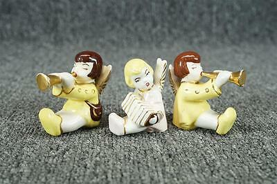 """Vintage Lot Of 3 Hand-Painted Ceramic Musical Angels 2 1/4"""""""