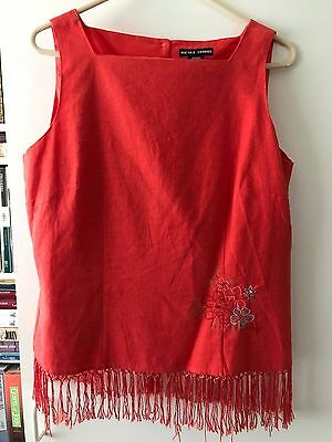 Nicole Studio Womens crop pants and top size 12 Orange with embroidered flowers