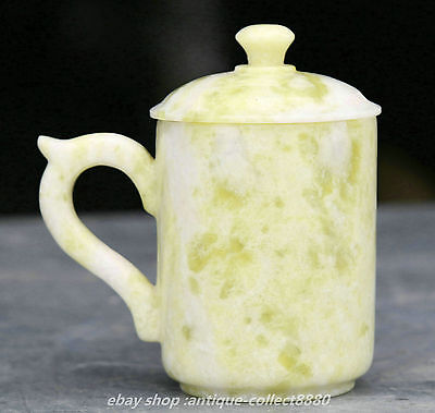 Chinese Natural 100% Lantian Jade Hand-carved Ancient Jade Cup Teacup Pot Statue