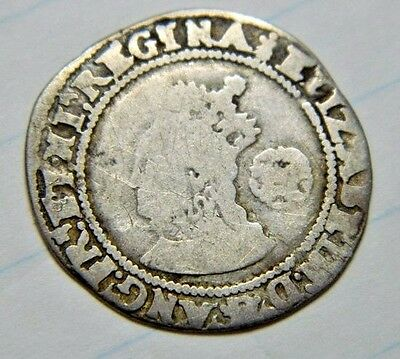 TUDOR 1572  ELIZABETH 1ST SILVER SIXPENCE MM ERMINE,ROSE BESIDE,(ju14