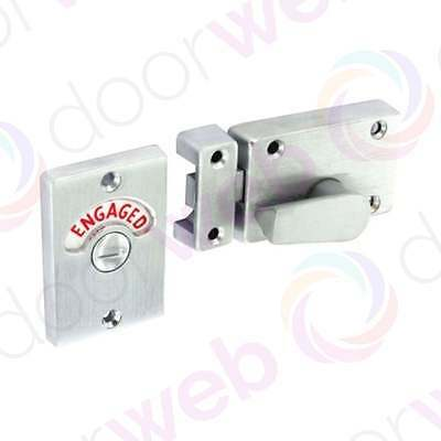 INDICATOR DOOR SLIDE BOLT Security Bathroom Toilet WC Sliding Lock Secure CHROME