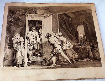 Large Antique print lithograph engraving.Unknown origin.Lover in hiding? French?