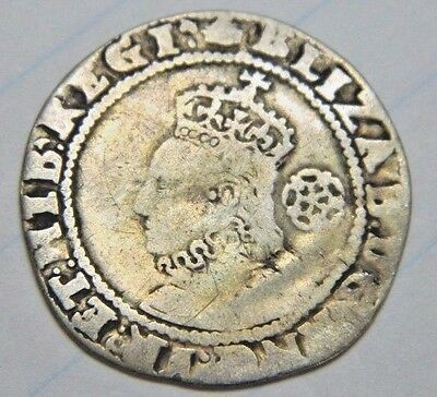 TUDOR PERIOD 1591 ELIZABETH 1ST SILVER SIXPENCE ROSE BESIDE BUST MM HAND (ju15