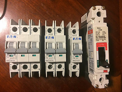 Lot of Eaton 480V/277V Circuit Breakers (1)3P-20A (1)2P-3A (1)1P-1A (1)1P-30A
