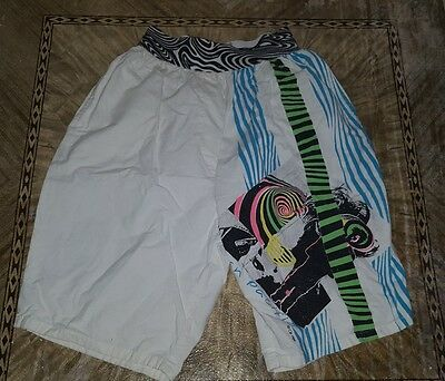 Vintage OP Ocean Pacific Trunks Neon Geometric Swim Shorts 80s Surf Small
