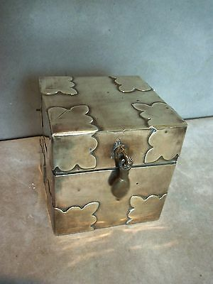 Small Vintage Brass, Wood Lined Tea Caddy / Tobacco Box