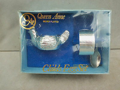 Silver Plated Baby Christening Set - Eggcup, Napkin Ring & Spoon. #2