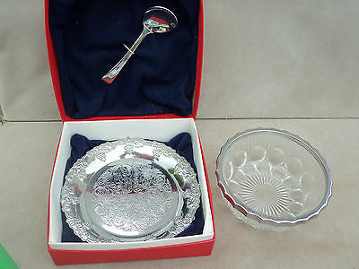 Silver Plated Baby Christening Set - Plate, Dish & Spoon