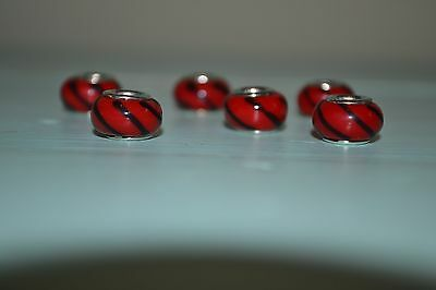 Lot of 6 Glass & Sterling Silver 925 Charms for Bracelet/Necklace-Black Red #4