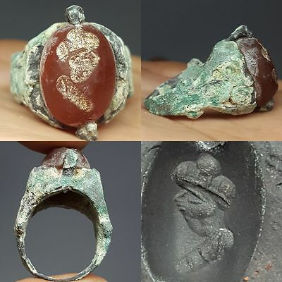 uncleaned Roman Bronze Agate intaglio Face Ring