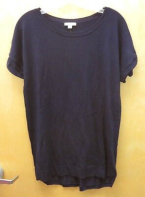 GAP MATERNITY M Navy Cuff Sleeve Perforated Back Short Sleeve Sweater NEW NWT
