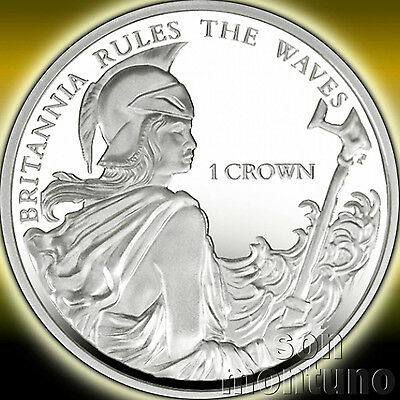 BRITANNIA RULES THE WAVES - 2015 Falkland Islands - 1 Crown Sterling Silver Coin