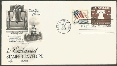 Us Fdc 1968 1.4C Embossed Stamped Env Nonprofit Ac First Day Of Issue Cover Ma