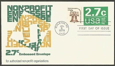 Us Fdc 1978 2.7C Embossed Stamped Env Non-Profit First Day Of Issue Cover