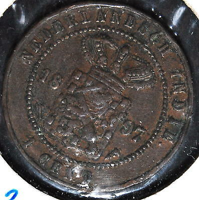 NETHERLANDS EAST INDIES 1 cent 1897  KM#307.2 copper * INDIA HOLANDESA