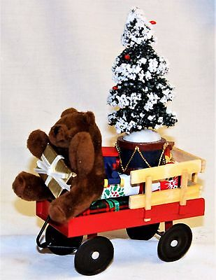 Byers Choice Red Wagon with Brown Teddy Bear Toys and Tree - New 2017