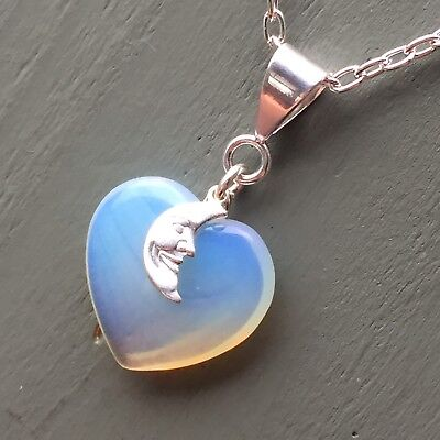 Silver Plated Opalite Heart & Moon Pendant Wicca Chakra Lunar Magic Pagan Reiki