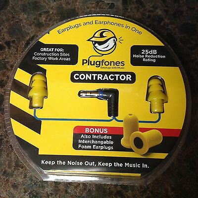 Plugfones Contractor Yellow Plugs Headphones Ear Buds Sound Limiting CY-1 New