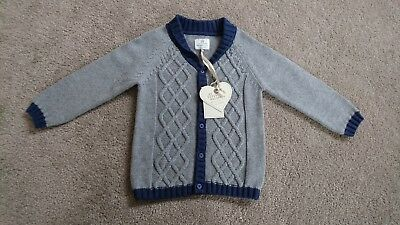 Bnwt NEXT boys grey + blue cardigan jumper top 12-18 months