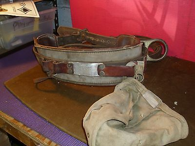 Vintage Buckingham Tree/pole Safety Belt With Harness, And Tool Pouch